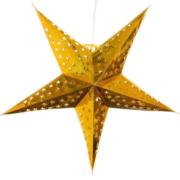 Звезды объемные для декора  40 см., золото