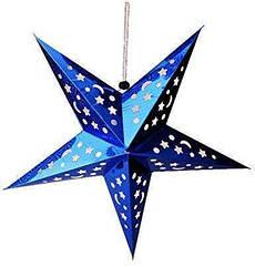 Звезды объемные для декора  40 см., синяя