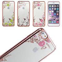 Чехол силиконовый с цветами для Iphone 5/5s