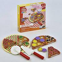 """Деревянный игровой набор """"Пицца"""" на липучках C 31487 (40) в коробке"""