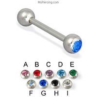 Штанга для пирсинга 18 мм камень Синий