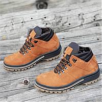 08601163 Стильные зимние кожаные ботинки мужские рыжие на толстой полиуретановой  подошве (Код: М1268a)