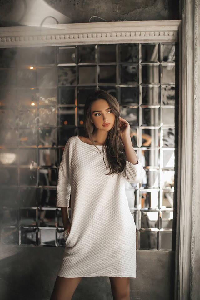 Платье с рукавом три четверти, по бокам карманы арт 7184-595