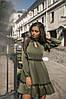 Платье с длинным рукавом, юбка с воланами, отделка сеточка  / 3 цвета арт 7186-595