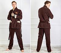 Стильный домашний теплый уютный мужской махровый костюм с бежевыми вставками на карманах и рукавах. Арт-4822