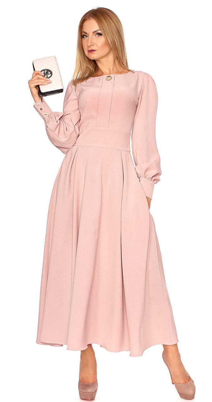 8ca8eac5eec Женское платье макси с длинным рукавом пудрового цвета. Модель 1098.  Размеры 42-48
