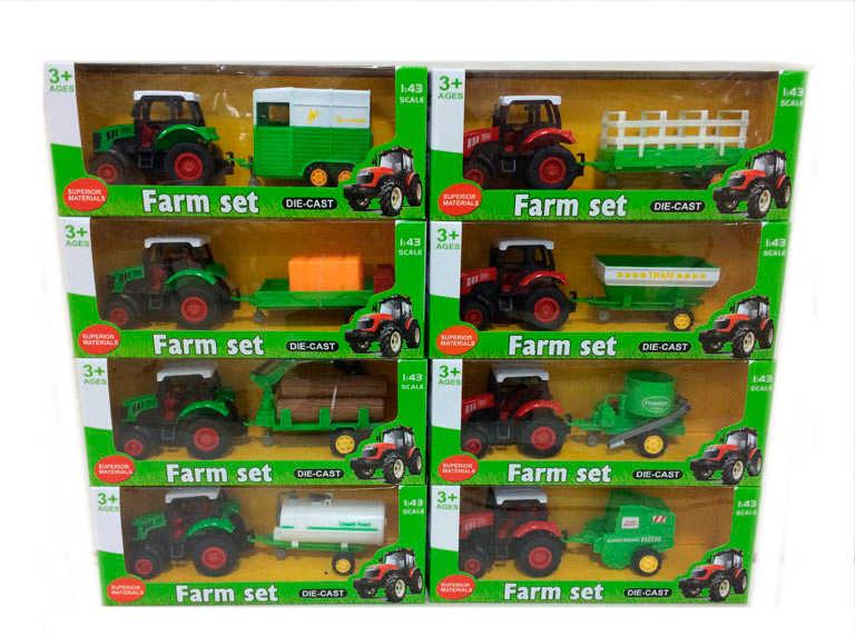 Трактор с прицепом XY 041 (96) 8 видов, металлопластик, 1шт в коробке