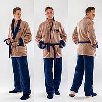 Теплый домашний мужской махровый домашний костюм со вставками на воротнике и карманах. Арт-4824