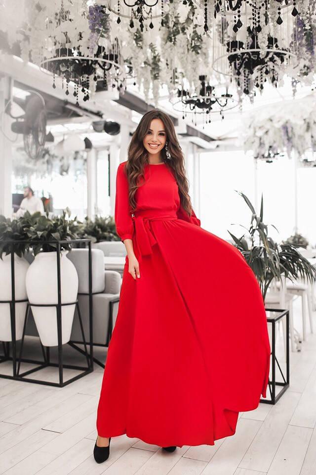 Длинное платье с рукавом фонарик  / 4 цвета арт 7193-595