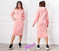 Платье женское тёплое с капюшоном в расцветках 2945, фото 1