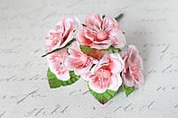 Декоративные цветы магнолии, диаметр 4 см, 72 шт/уп.,  розового цвета оптом