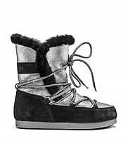 Женские зимние ботинки сапоги Moon Boot Far Side High Shearling  Silver-Black ( 37 ) 127fd3f7862