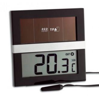 301038. Термометр цифровой TFA ECO Solar, внешний проводной датчик, 90х90х20 мм