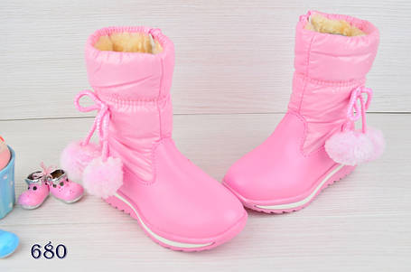 Ботинки детские зимние на  меху на девочку розовые 25 размер, фото 2