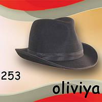 Фетровая мужская шляпа поля 6 см цвет черный коричневый серый