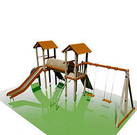 """Детские домики и игровой комплекс (площадка) с горками """"Сороконожка"""""""