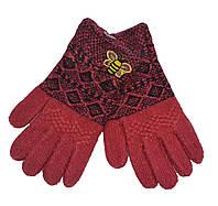 """Перчатки для девочки с начесом """"Пчелка"""" красные"""
