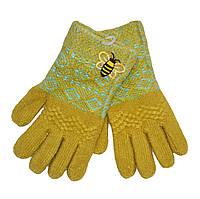 """Перчатки для девочки с начесом """"Пчелка"""" желтые"""
