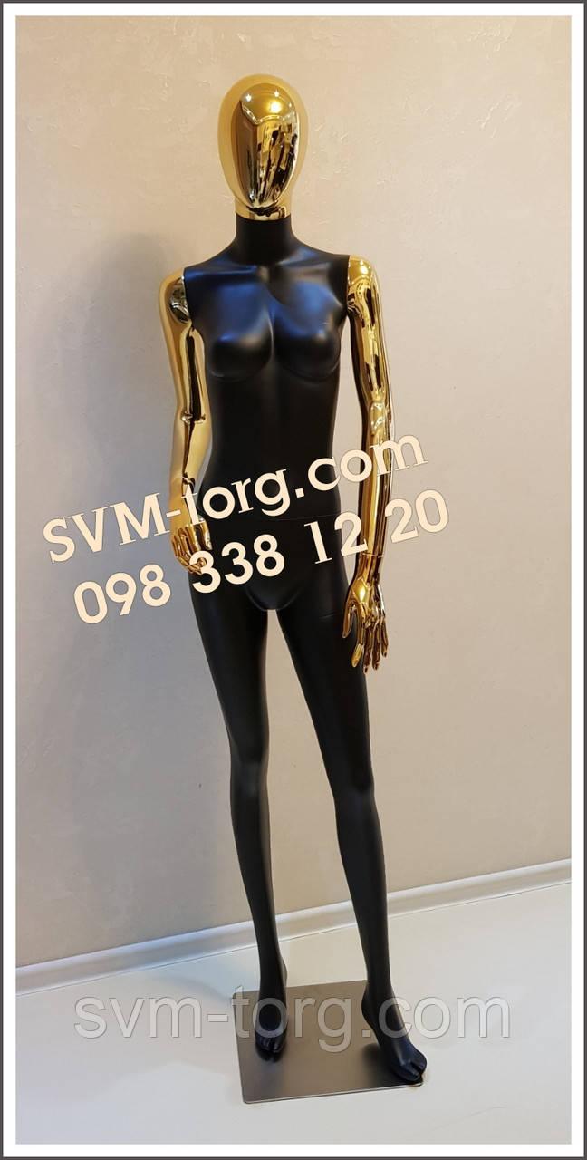 Манекен женский черный с золотыми руками и головой