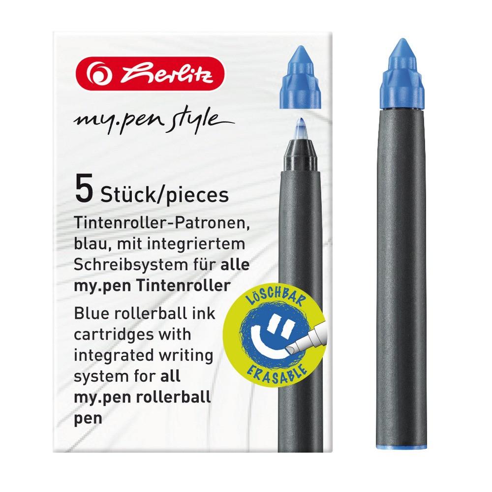 Чернильные картриджи для роллеров Herlitz My.Pen 5шт синие стираемые  (11379013)