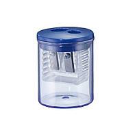 Точилка Herlitz Round с контейнером 2 отверстия синяя (8680100B)