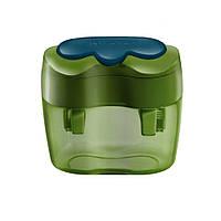 Точилка Herlitz Double с контейнером и крышечкой 2 отверстия зеленая (10921112G)