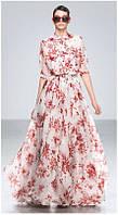 Платье в пол шелк Gucci с длинным рукавом