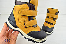 Ботинки  детские зимние из натур. мехом  на мальчика коричневые, фото 2