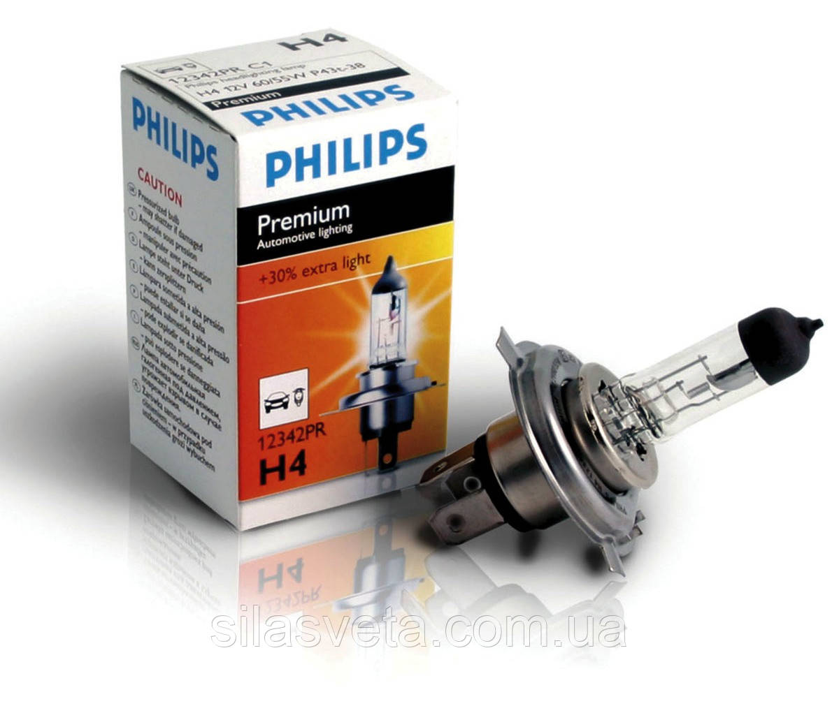 """Автомобильная галогеновая лампа """"PHILIPS"""" (H4)(Premium)(+30%)"""