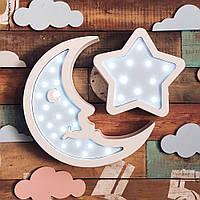 """Детский светодиодный ночник, светильник ручной работы """"Месяц и мини звезда"""""""