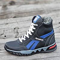 Подростковые зимние высокие кроссовки ботинки Reebok реплика мужские кожаные черные на меху (Код: М1255)