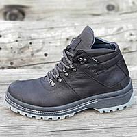 Стильные зимние кожаные ботинки мужские черные на толстой зимней подошве (Код: М1269)