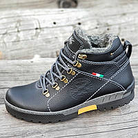 Зимние кожаные ботинки мужские черные на толстой зимней подошве прошиты натуральный мех (Код: М1271)