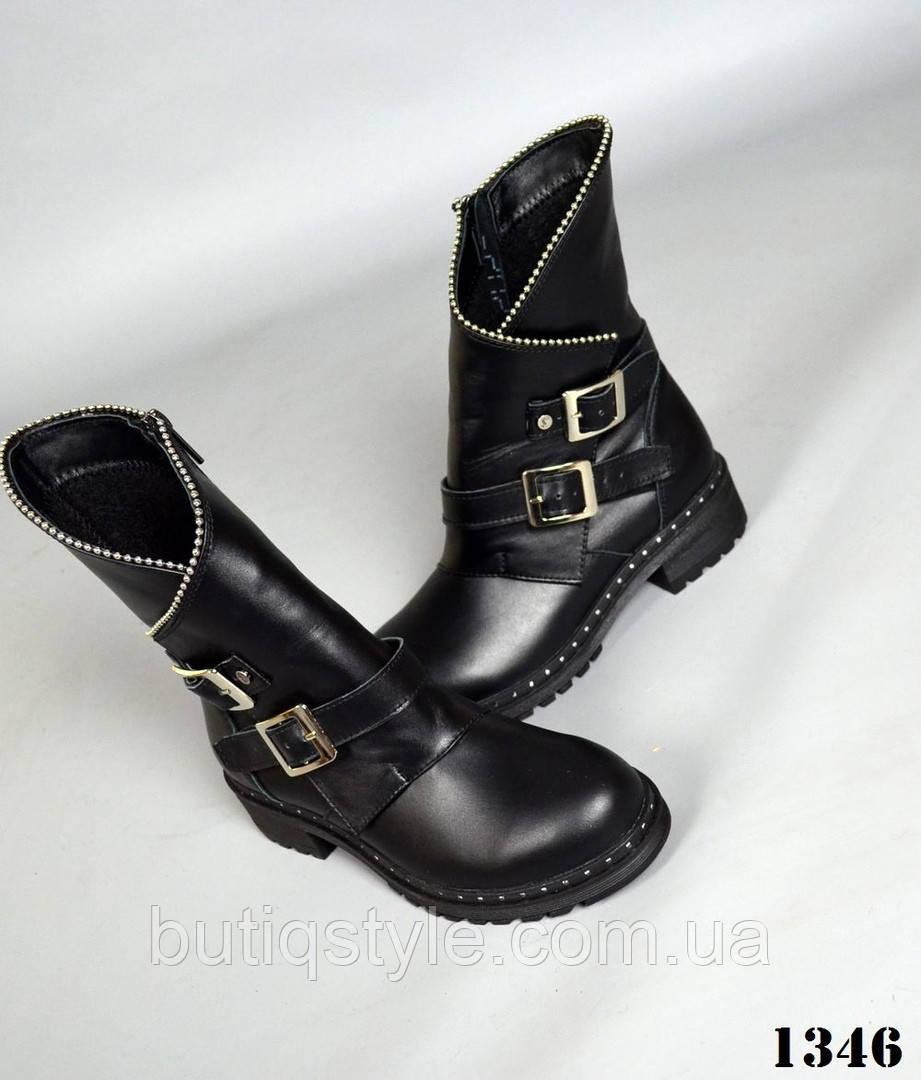41  размер черные ботинки кожа на флисе