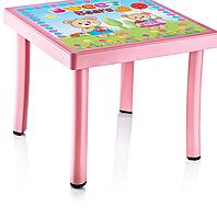 Стол детский с декором 50*50*40 см, Irak Plastik, Турция голубой
