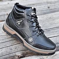 Стильные зимние мужские спортивные ботинки кожаные черные мех на толстой зимней подошве (Код: М1290)
