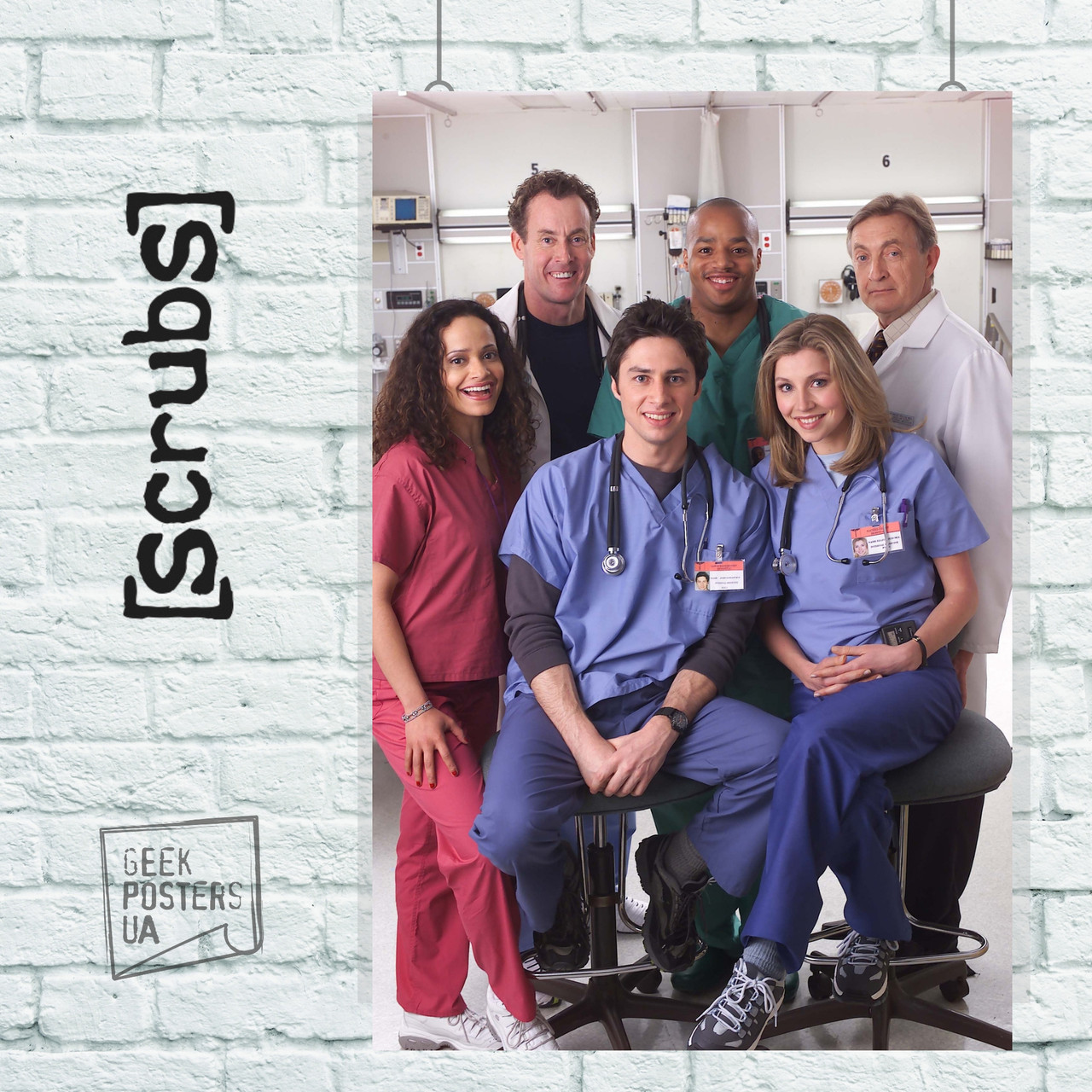 "Постер Сериал ""Клиника"", Scrubs . Размер 60x40см (A2). Глянцевая бумага"