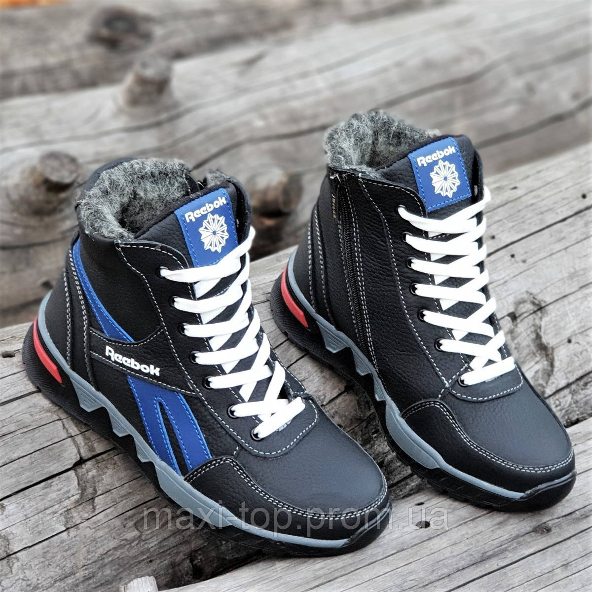 4964649afaf8 Подростковые зимние высокие кроссовки ботинки Reebok реплика мужские кожаные  черные на меху (Код  М1255a