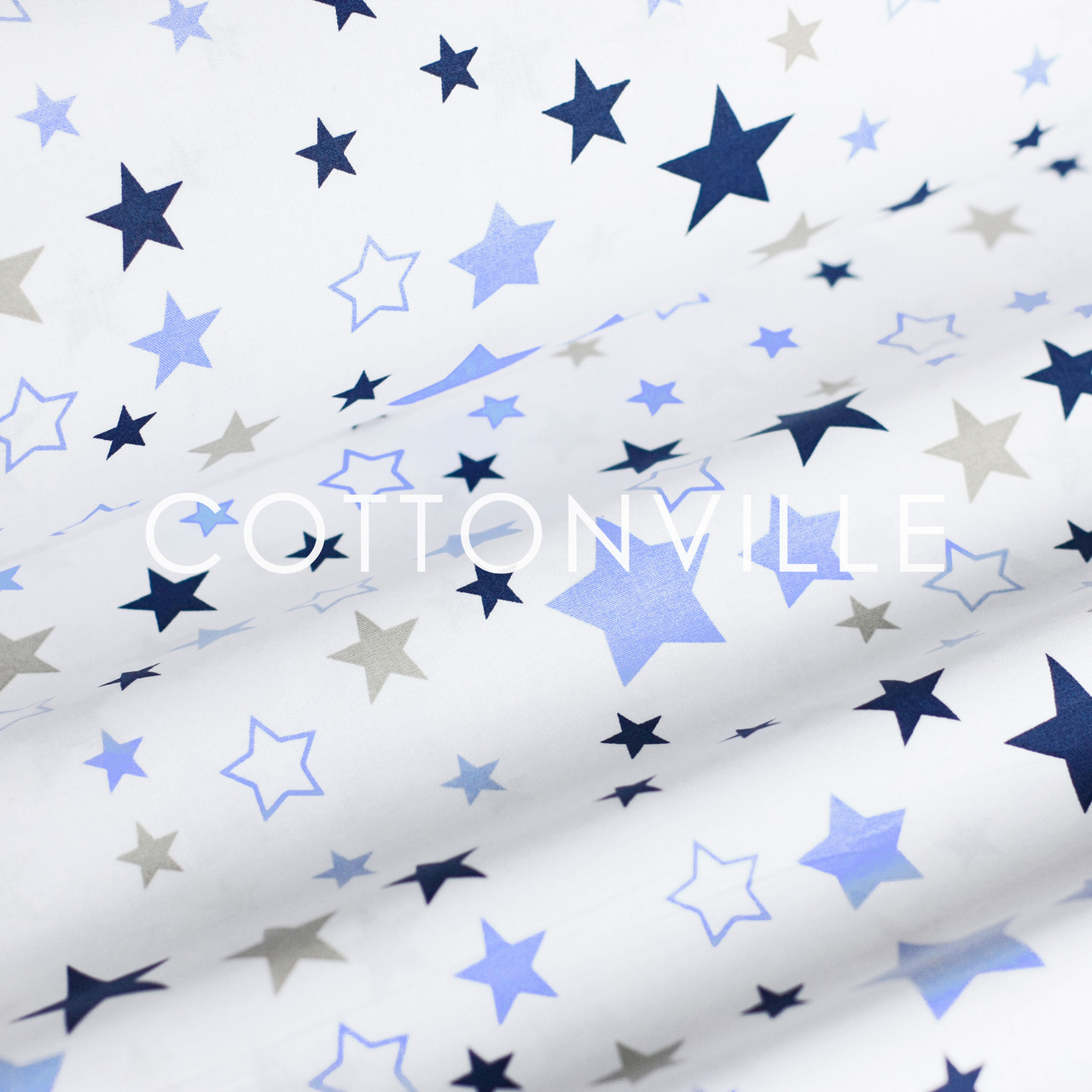 Поплин Звездопад темно-голубой на белом