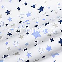 Поплин Звездопад темно-голубой на белом, фото 1