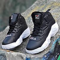 Улетные зимние черные кроссовки в стиле FILA на платформе женские  подростковые (Код  М1262a) 323034e2203