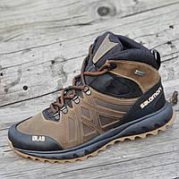 Зимние спортивные кожаные ботинки реплика мужские коричневые натуральный мех (Код: Ш1270)