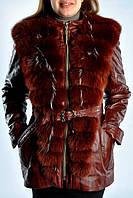 Кожаная удлиненная женская  куртка с мехом песца.