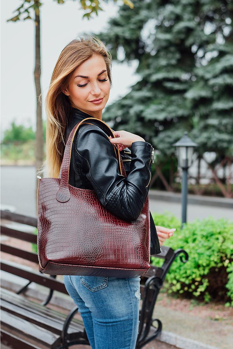Женская сумка кожаная 01 коричневый кайман 01010206