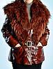 Кожаная удлиненная женская  куртка с мехом енота.