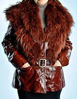Кожаная удлиненная женская  куртка с мехом енота., фото 1