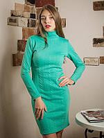 Теплое стильное платье-гольф с длинным рукавом 44