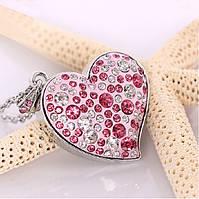 Флешка usb сердце с бриллиантами розового цвета