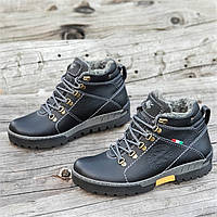 Зимние кожаные ботинки мужские черные на толстой зимней подошве прошиты натуральный мех (Код: М1271a)