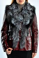 Кожаная  женская  куртка с мехом чернобурки., фото 1